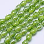 楕円形の手作りランプワークビーズ連売り, 芝生の緑, 18x12mm, 穴:1mm、約17個/連, 11.4