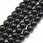 Glass Beads Strands, Imitation Jade Beads, Round, Black, 6mm, Hole: 1mm; about 50pcs/strand, 13