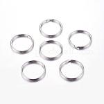 316 cierre de llavero de acero inoxidable, anillos de división, color acero inoxidable, 25x1.5mm