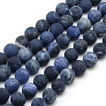 Frosted Natural Sodalite Round Bead Strands, 10mm, Hole: 1mm, about 37~39pcs/strand, 14.9~15.6 inches