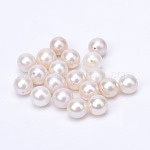 Natural Cultured Freshwater Pearl Half Drilled Beads, Round, FloralWhite, 8~9mm, Half Hole: 0.8mm
