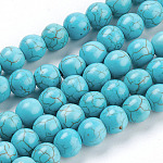 Gemstone Beads, Synthetical Turquoise, Round, SkyBlue, 8mm, Hole: 1mm; about about 50pcs/strand