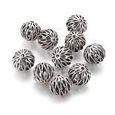Perles creuses de style tibétain, ronde, argent antique, 16.5mm, Trou: 2.5mm