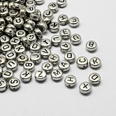 Plated Acrylic Alphabet Beads, Flat Round, Mixed, 7x4mm, Hole: 1.3mm