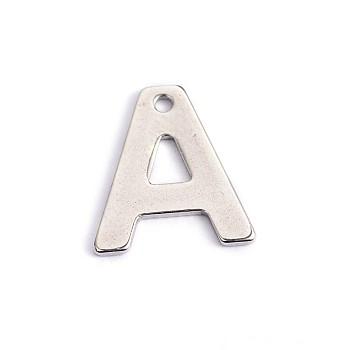 Encantos de letras de 304 acero inoxidable, letter.a, 11x10x0.5mm, agujero: 1 mm