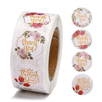 Merci étiquette adhésive stickers, 4 modèles différents, autocollants d'étanchéité décoratifs, pour les cadeaux de noel, mariage, fête, blanc, 25 mm, environ 500 pcs / rouleau