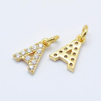 Brass Micro Pave Grade AAA Cubic Zirconia Charms, Letter A, Cadmium Free & Nickel Free & Lead Free, Real 18K Gold Plated, 8.5x6x1.5mm, Hole: 2mm
