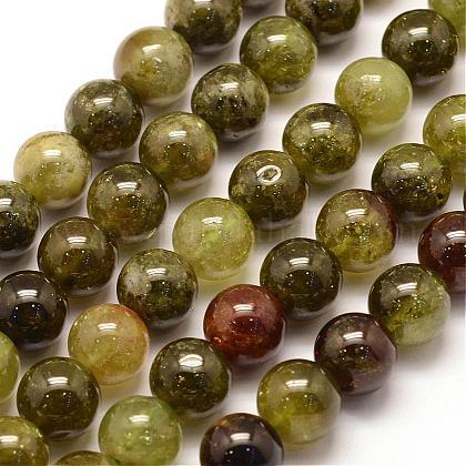 Natural Green Green Garnet Beads StrandsG-G661-6mm-1