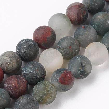 Naturales africanos abalorios bloodstone hebras G-P295-05-8mm-1