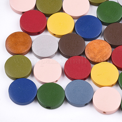 Painted Natural Wood Beads WOOD-S049-02C-M-1
