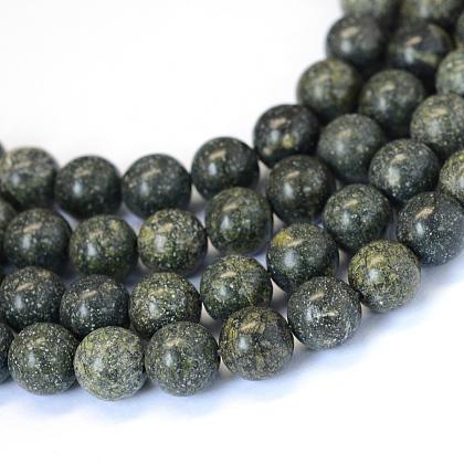 Piedra natural serpenteante / encaje verde cuentas redondas cuentasX-G-E334-6mm-14-1