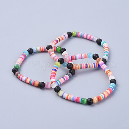 Environmental Handmade Polymer Clay Heishi Beads Stretch BraceletsBJEW-JB04327-1