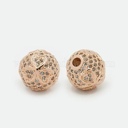 Abalorios de latón con pavé de circonitasX-ZIRC-F001-04RG-1