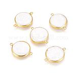 Conectores de eslabones de perlas naturales, con fornituras de latón, plano y redondo, blanco, dorado, 28x20x4mm, agujero: 1.8 mm