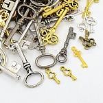 Tibetan Style Alloy Pendants, Assorted Key, Mixed Color, 16~75.5x6.5~25.5x1~5mm, Hole: 1~4mm
