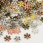 Mixed Tibetan Style Alloy Snowflake Spacer Beads, Mixed Color, 8.5x2.5mm, Hole: 1.5mm; about 950pcs/200g