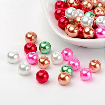 Christmas Mix Pearlized Glass Pearl Beads, Mixed Color, 8mm, Hole: 1mm; about 100pcs/bag