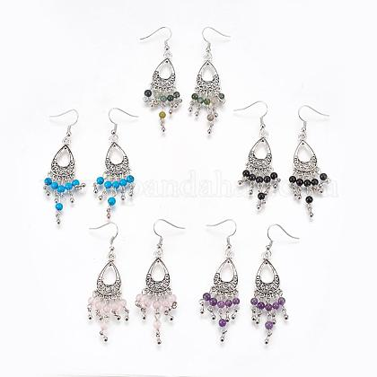Tibetan Style Alloy Natural & Synthetic Mixed Stone Chandelier Earrings EJEW-JE01892-1