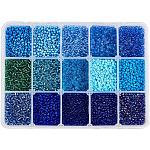 NBEADS About 20010 Pcs Glass Seed Beads, Opaque Blue Seed Beads 2mm Round Pony Beads Mini Spacer Loose Beads for DIY Craft Bracelet Necklace Jewelry Making