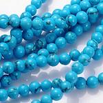 Pierres fines perles brin, teinte, turquoise synthétique, ronde, environ 4 mm de diamètre, trou: environ 0.8 mm