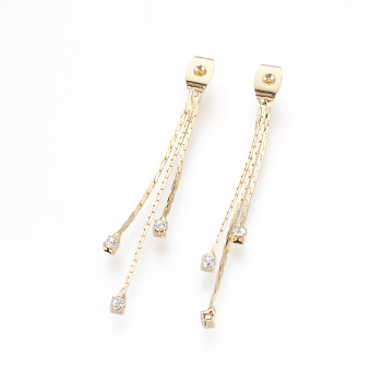 Brass Rhinestone Ear Nuts, Earring Backs, Nickel Free, Real 18K Gold Plated, Crystal, 49x4x3.5mm, Hole: 0.8mm