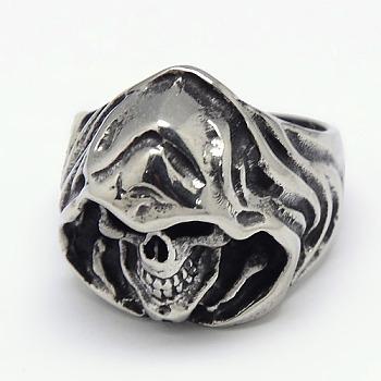 Уникальные ретро-украшения для Хэллоуина 316 хирургические кольца из нержавеющей стали с мрачным жнецом для мужчин, античное серебро, 17~23 мм