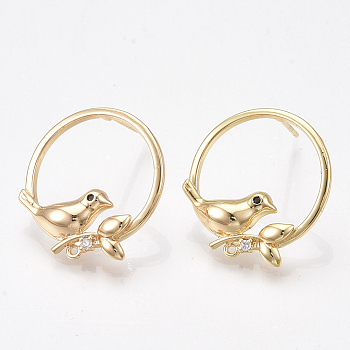 Brass Cubic Zirconia Stud Earring Findings, with Loop and 925 Sterling Silver Pins, Bird, Nickel Free, Real 18K Gold Plated, 21x20mm, Hole: 0.8mm; Pin: 0.8mm