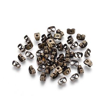 Tuercas del oído del hierro, pendiente trasero, sin níquel, Bronce antiguo, aproximamente 6 mm de largo, 4 mm de ancho, 3 mm de altura, agujero: 0.7~1.0 mm