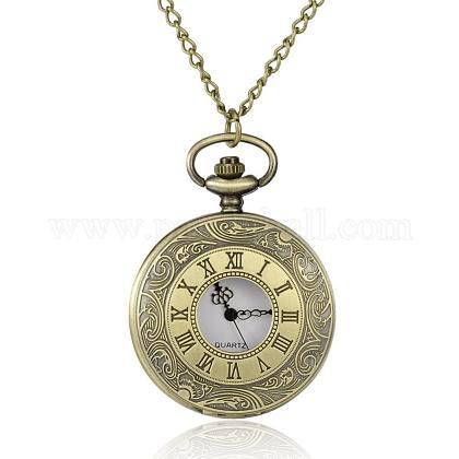 Flat Round Alloy Quartz Pocket WatchesWACH-N039-05AB-1