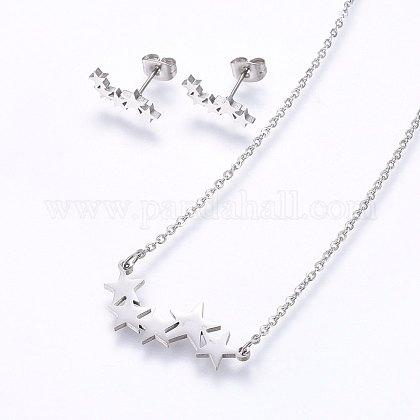 Conjuntos de joyería de 304 acero inoxidableSJEW-O090-16P-1