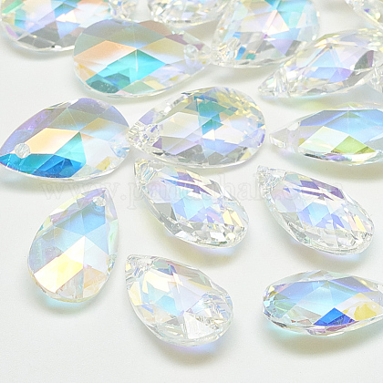 K9 Glass Rhinestone PendantsRGLA-T077-9x16mm-001AB-1