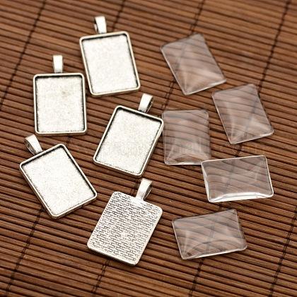 Pendentif en alliage de rectangle supports de cabochons et transparentes cabochons de verre de rectangleDIY-X0234-AS-RS-1
