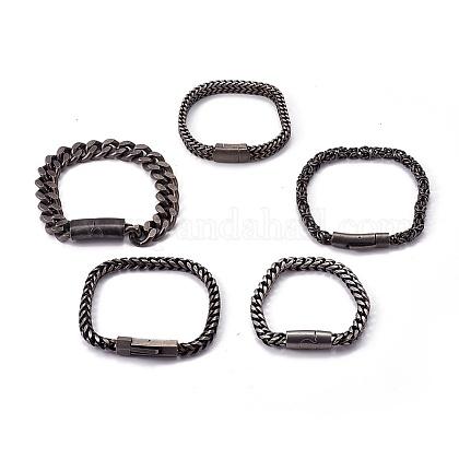 Retro 304 acero inoxidable pulseras de cadenaBJEW-L645-18AS-1