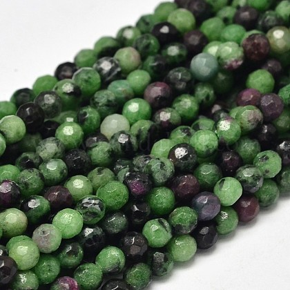 Faceted Round Natural Ruby in Zoisite Bead StrandsG-F289-11-4mm-1