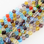 Mixed  Glass Bicone Beads Strands, Faceted, 6mm, Hole: 1mm; about 52pcs/strand, 13