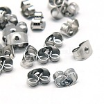 304 Stainless Steel Ear Nuts, Earring Backs, 304 Stainless Steel, 5x3.5x2mm, Hole: 1mm