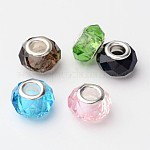 Mixed Glass European Beads, with Plating Silver Double Cores, Faceted, Large Hole Rondelle Beads, Mixed Color, 14x9.5~10mm, Hole: 5mm