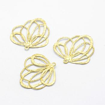 Brass Pendants, Lead Free & Cadmium Free & Nickel Free, Flower, Unplated, 26x25x1mm, Hole: 1mm