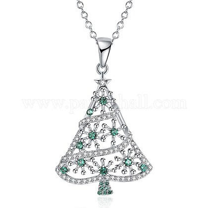 Brass Micro Pave Cubic Zirconia Pendant Necklaces NJEW-BB29780-1