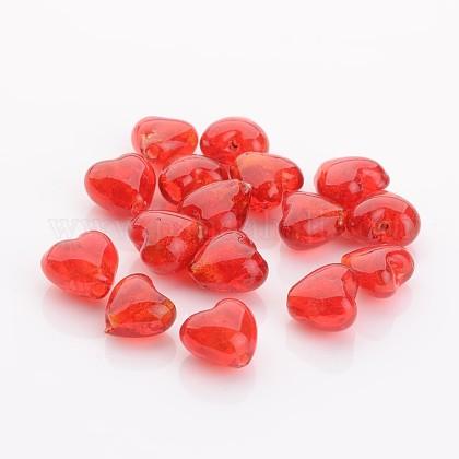 Cadeaux Saint Valentin pour ses idées faits à la main en argent des perles de verre de feuilleFOIL-R050-12x8mm-1-1