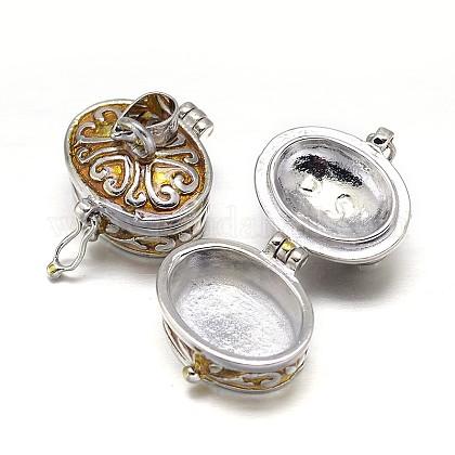 Esmalte ovales chapado estante colgantes caja de la oración de latónKK-L101-14-1