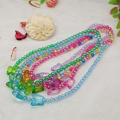 Lovely Transparent Acrylic Necklaces for Children's Day Gift NJEW-JN00269-1