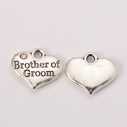 La fuente del partido de la boda de plata antigua rhinestone aleación de corazón tallado hermano palabra de los charms de la familia de la boda el novioX-TIBEP-N005-26D-1