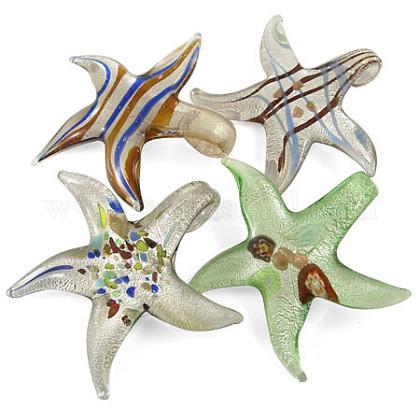 Hecho a mano de cristal hoja de plata colgantes grandesX-SLSP158Y-1