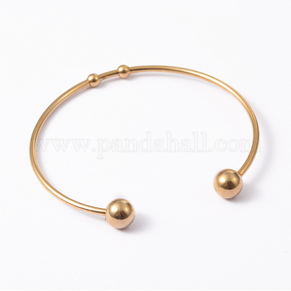 Fashion 304 Stainless Steel Cuff Bangles Torque BanglesBJEW-H473-01G-1