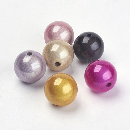 Mixed Color Spray Painted Acrylic Beads X-PB9290-1
