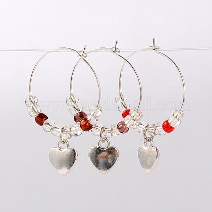 Tibetan Style Heart Wine Glass CharmsAJEW-JO00022-1