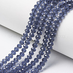 Glass Beads Strands, Faceted, Rondelle, Slate Blue, 4x3mm, Hole: 0.4mm; about 145pcs/strand, 18.9inches(48cm)
