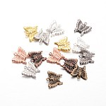 Brass Charms, Butterfly, Mixed Color, 14x15x3.5mm, Hole: 1mm