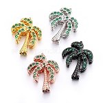 Brass Micro Pave Cubic Zirconia Slide Charms, Long-Lasting Plated, Cadmium Free & Nickel Free & Lead Free, Coconut Tree, Green, Mixed Color, 17x13.5x5.5mm, Hole: 1.5x10mm